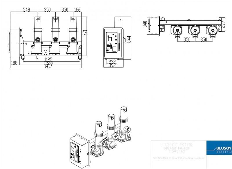 USFB-36 36 kV 1250 A Yan Mekanizmalı Kesici