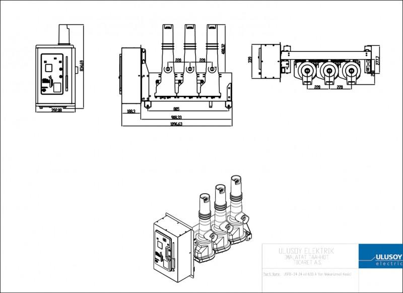 USFB-24 24 kV 630 A Yan Mekanizmalı Kesici